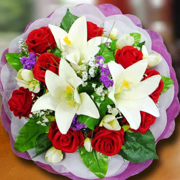 Artificial White Lilies & Red Roses Bouquet