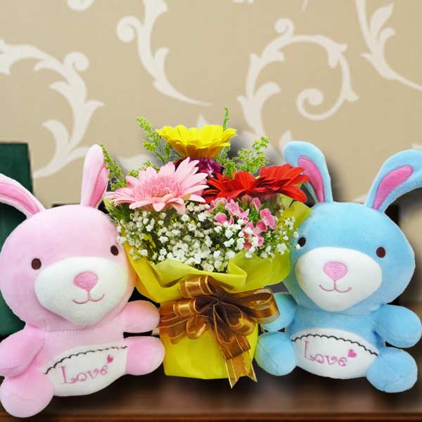 Easter day flowers delivery 16cm couple bunny 3 mixed gerbera standing bouquet negle Choice Image
