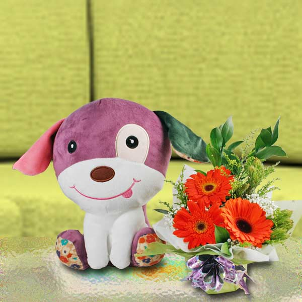 30cm Plush Toy Puppy & 3 Orange Gerbera Flower Standing Bouquet