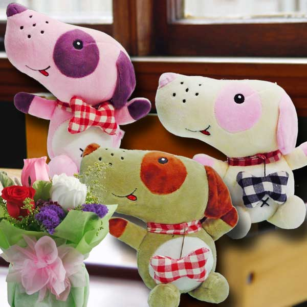 18cm Doggy ( Pls choose 1 Color Only ) & 3 Mixed Roses