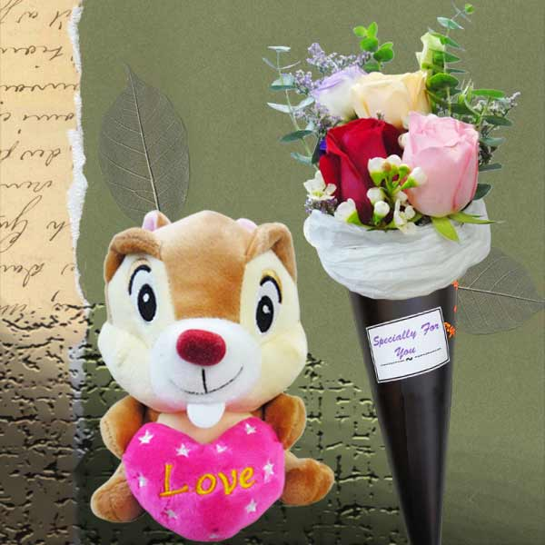 Ice Cream Cone 3 Mixed Roses Bouquet & 16cm Stuffed Squirrel