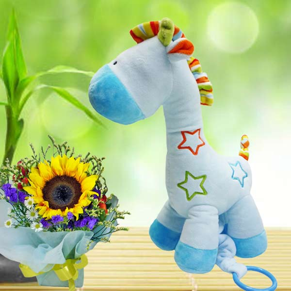 Musical Plush Toy 25cm Height & Sunflower Standing Bouquet