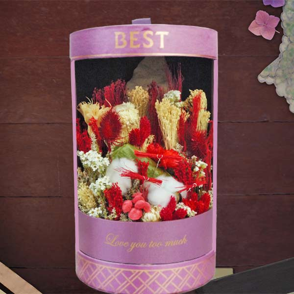 Dried Flowers Arranged In Cylinder Gift Box 33cm Height