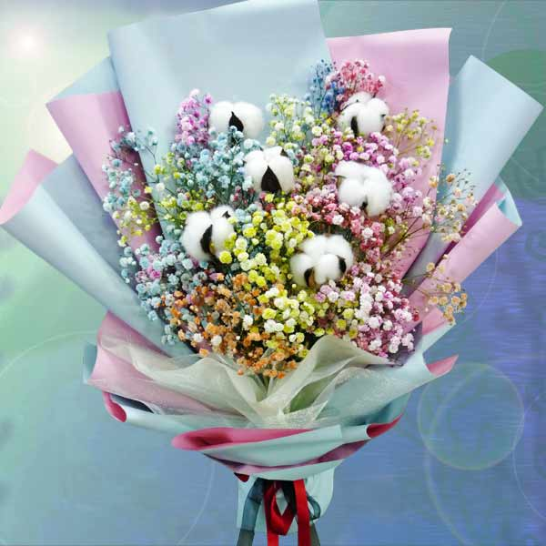 Cotton Flowers With Rainbow Baby Breath Hand Bouquet