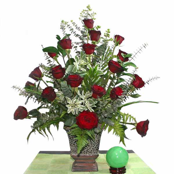 20 Black Roses Arrangement in Vase
