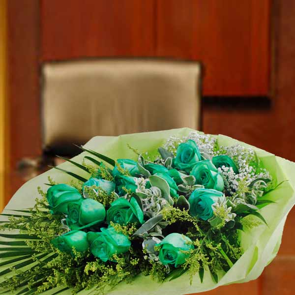 18 Green Roses Hand Bouquet