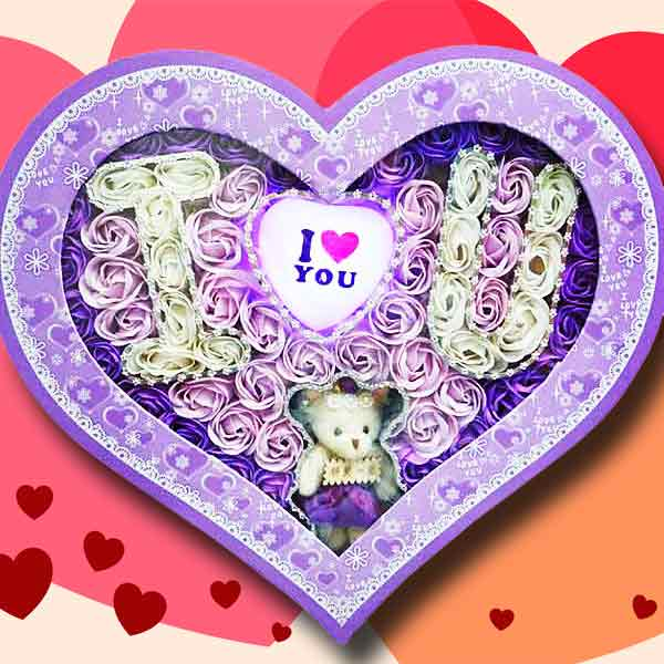 I Love U ( LED Light ) Handmade Rose Soap & Bear In Heart-Shape Box