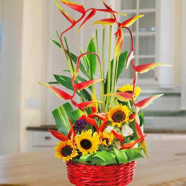 Sunflower & Heliconia Basket Arrangement