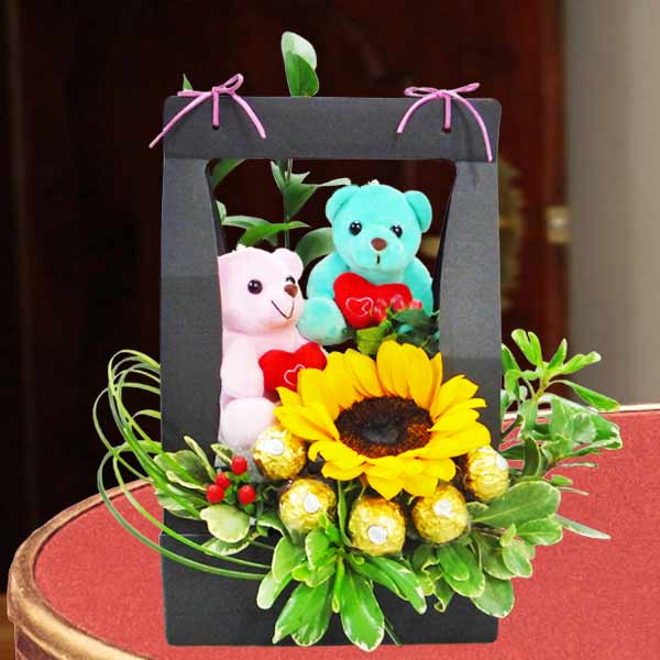 Sunflower Standing Bouquet With Bear & Rocher