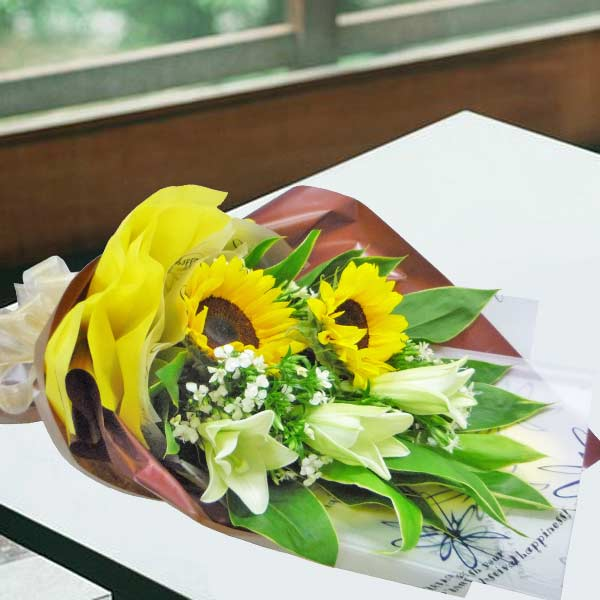SunFlowers & Lilies Hand Bouquet