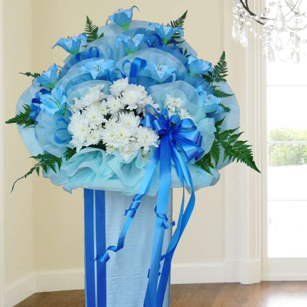 Artificial Blue Lilies & Fresh PomPom Flowers 5