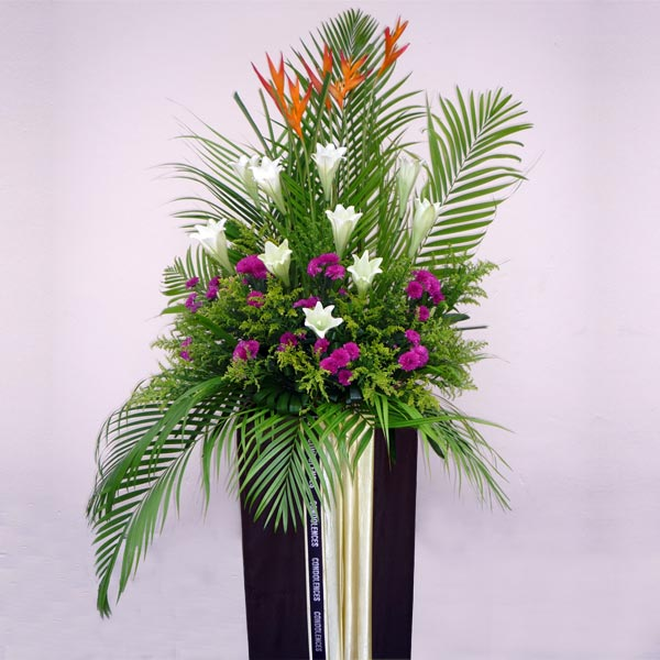 Bird of Paradize with White lily In Box Stand 6 feet height