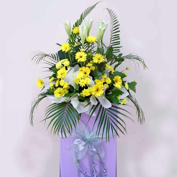 5 Lily and Yellow Gerbera on Box Stand 6