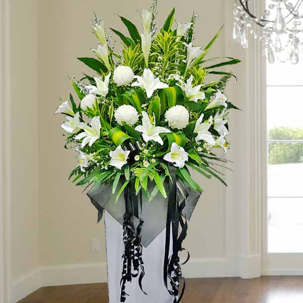 Artificial Lilies, Fresh Lilies & Chrysanthemum White box stand 5 feet heigh