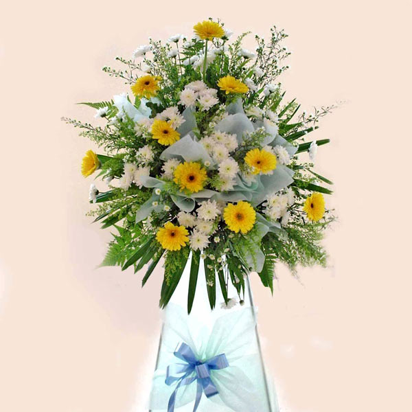 Yellow gerbera arrangement 6