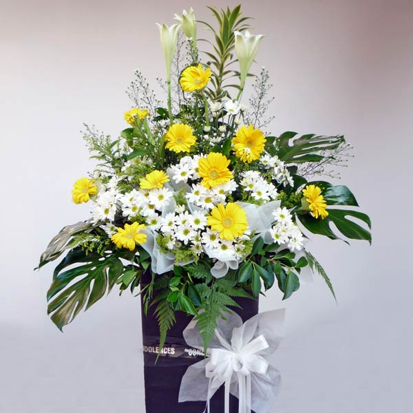 Lily White & Yellow Gerbera On Standing Box 6