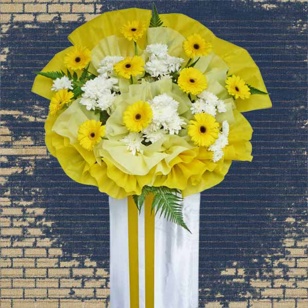 Yellow Gerbera Funeral Flower Stand 5 Feet Height