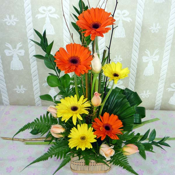 Mixed Gerbera & Roses Table Arrangement