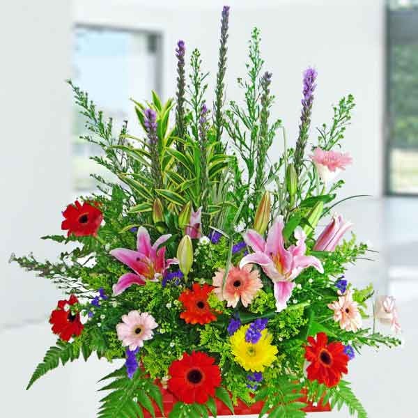Pink Lily & Mixed Gerbera Basket Arrangement