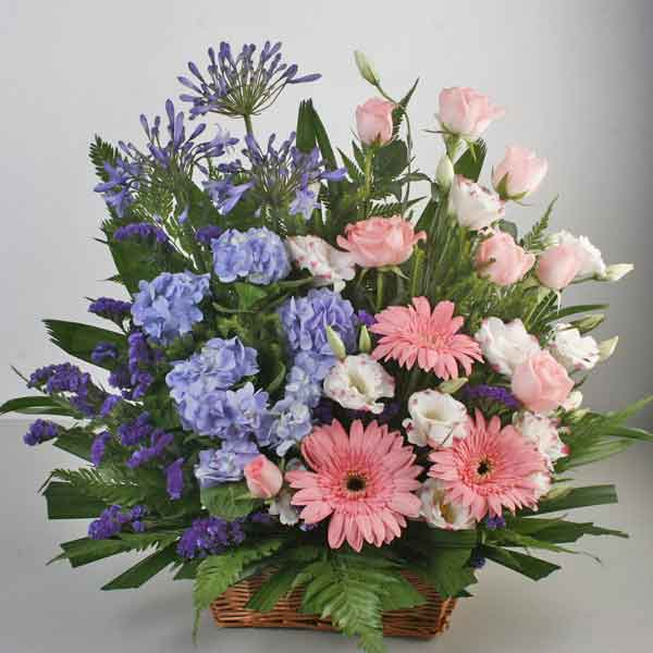 Blue Hydrangeas & Pink Gerbera Table Basket Arrangement