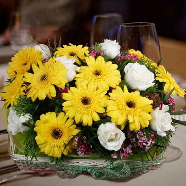 10 Yellow Gerbera & 8 White Roses Basket Arrangement