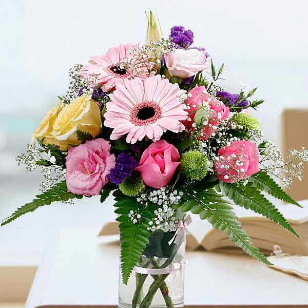 Mixed Gerbera & Roses In Glass Vase Small Arrangement