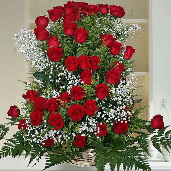 50 Red Roses Basket Arrangement