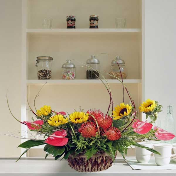 Sunflowers & Red Anthurium Flowers Arrangement