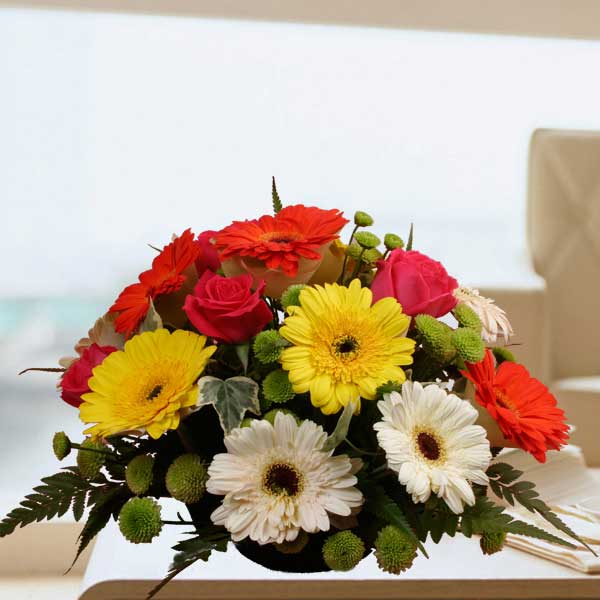 12 Gerberas & 6 Roses Small Arrangement