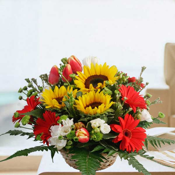 Sunflowers, Tulips & Gerbera Flowers Table Arrangement