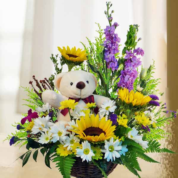 Sunflower & Chrysanthemum With Bear in Basket Arrangement