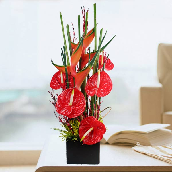 Anthurium & Heliconia Flowers Arrangement