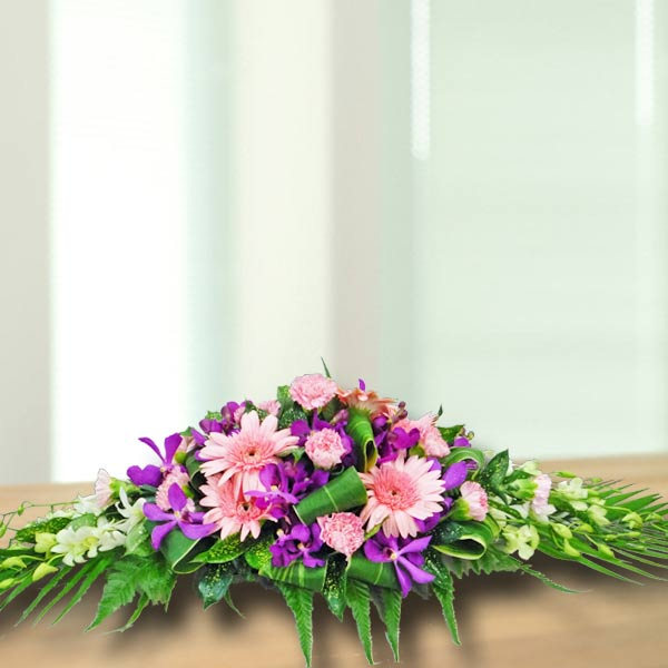 White Lily & Gerbera Fresh Flowers Arrangement