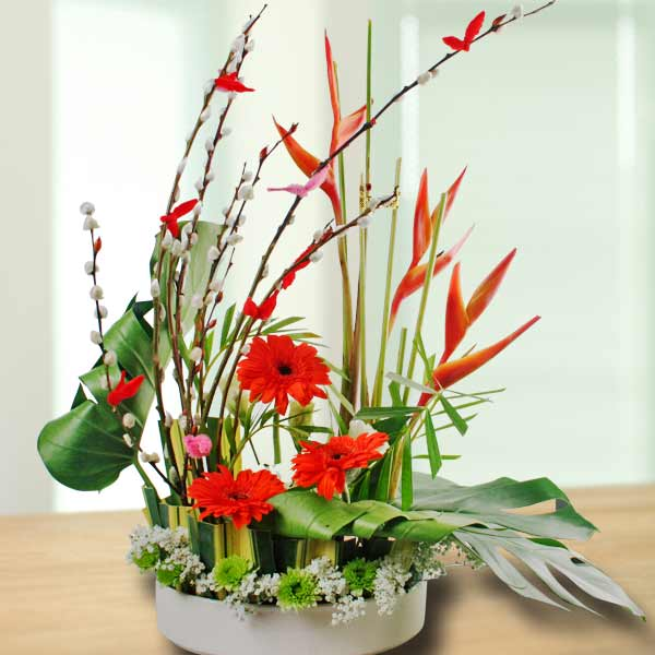 Gerbera & Heliconia Table Arrangement.