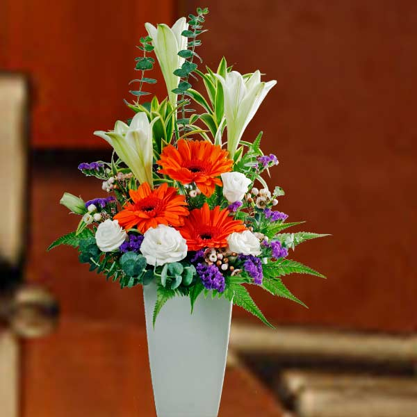 3 Lilies & 3 Gerberas Table Arrangement