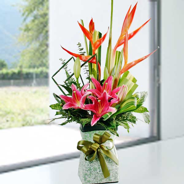 3 Pink Lilies Table Arrangement
