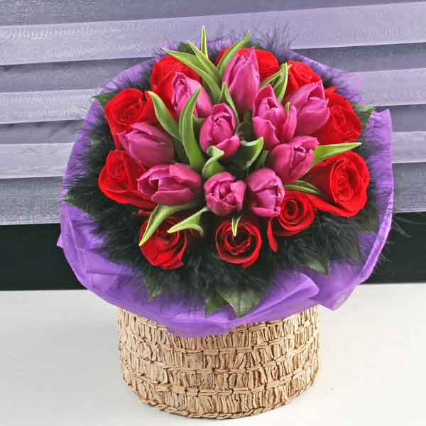 10 Purple Tulips & 10 Red Roses Hand Bouquet