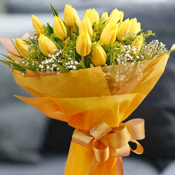 20 Yellow Tulips Hand Bouquet