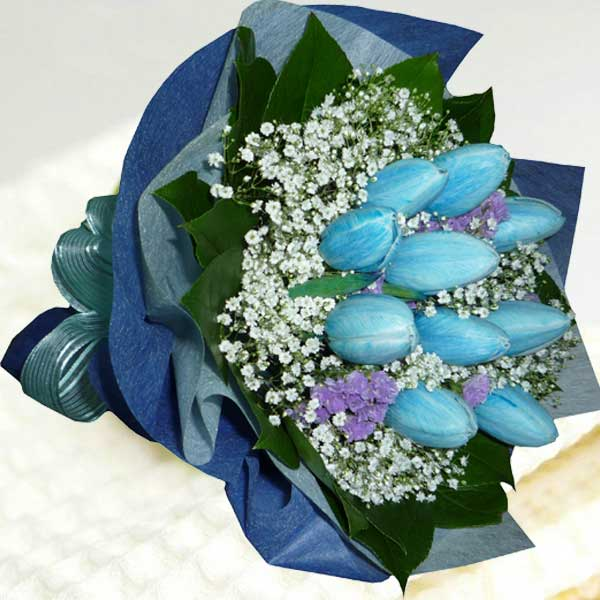 10 Blue Tulips Hand Bouquet Delivery