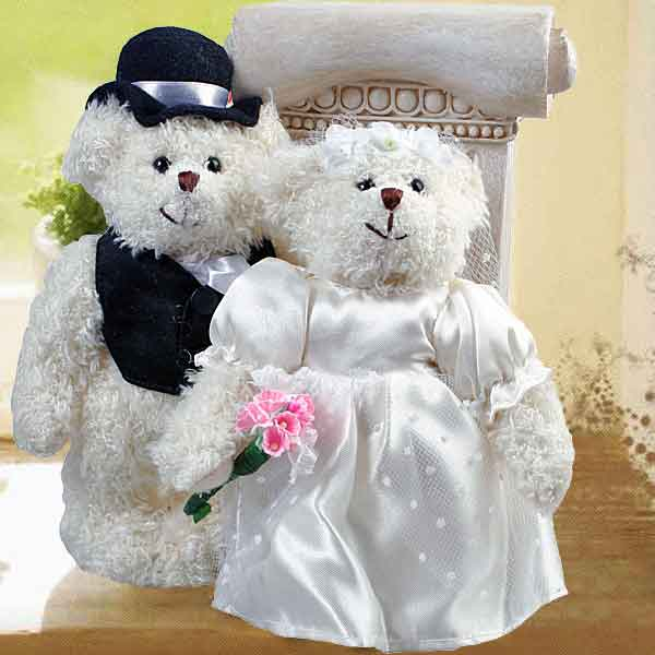 "8"" WEDDING Day Bride & Groom Teddy Bears"