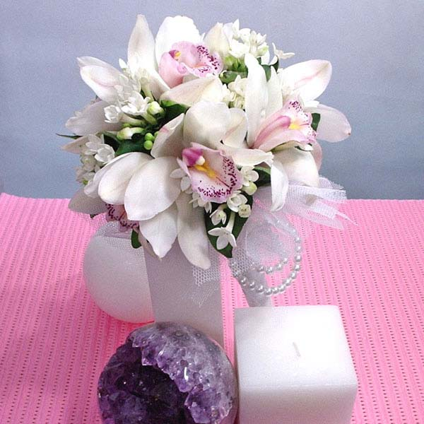 White Cymbidium Orchid Hand Bouquet (3 Days Advance Order )