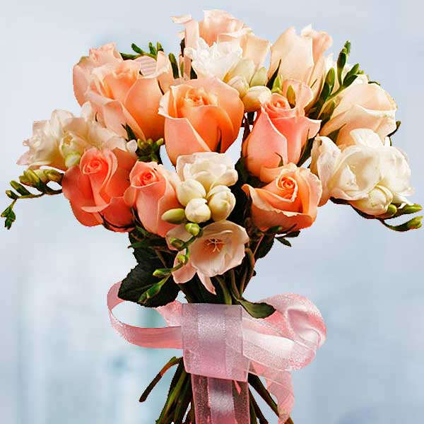 12 champagne rose With Freesia Bouquet (3 Days Advance Order)