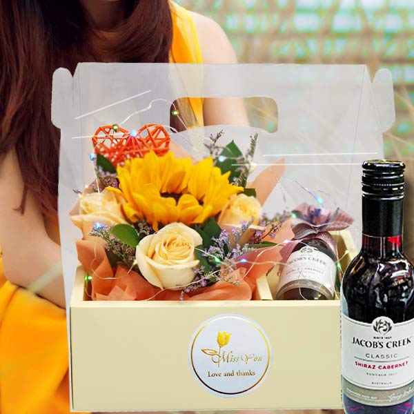 Red Wine 187ml, SunFlower, Roses & LED Light in Hand Carry Gift Box
