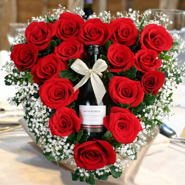 Red Wine & Roses Table Arrangement