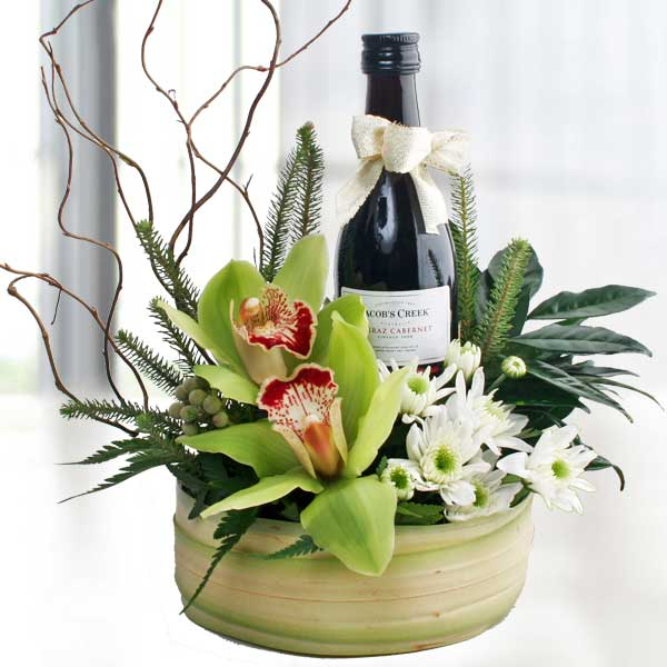 Cymbidium Orchids & Red Wine