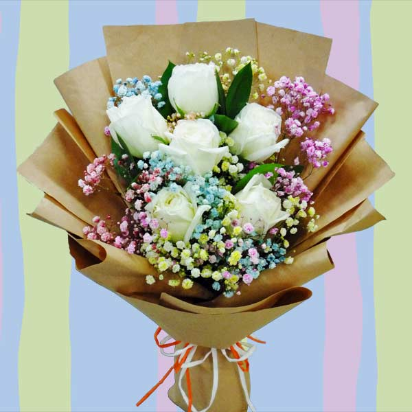 Rainbow Baby Breath & 6 White Roses Hand Bouquet Delivery