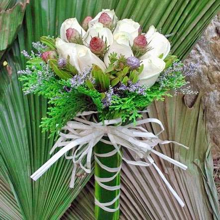 12 White Roses With Leucadendron And Pine Foliage Wrap With Drac
