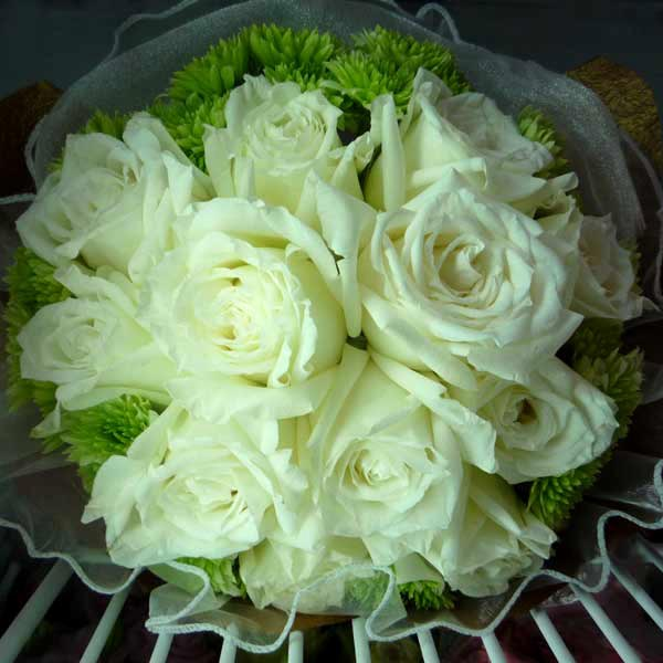 12 White Roses & Special-Green PomPom Handbouquet (3 Days Advance Order)
