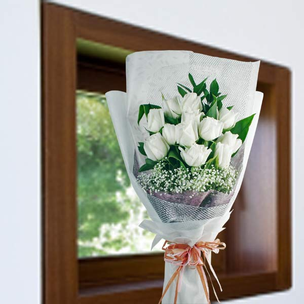 White roses flower delivery singapore buy white rose white roses long wrapping hand bouquet mightylinksfo Image collections
