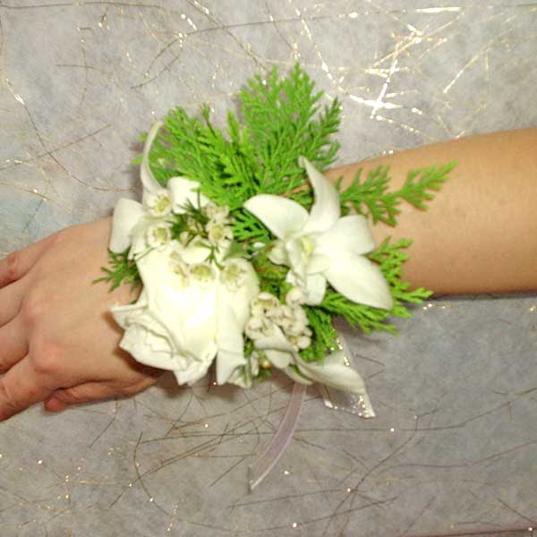 White Rose & Orchids Wedding Wristlets